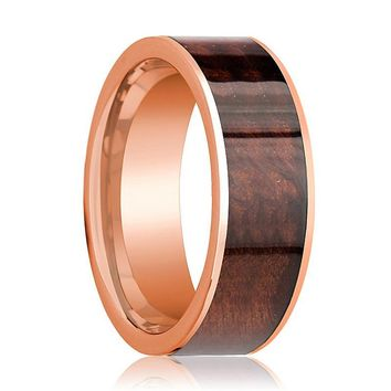 Red Wood Inlaid Men's 14k Rose Gold Wedding Band with Flat Edges - 8MM