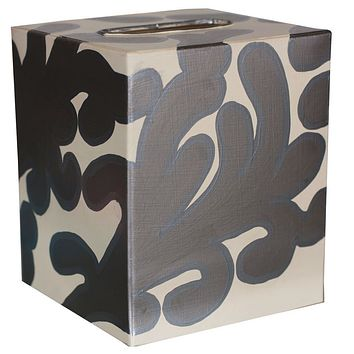 Silver & Cream Tissue Box Cover by Worlds Away