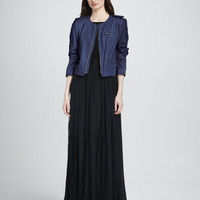 Cropped Leather Zip Jacket, Kay Leather-Side Stretch Tee & Louie Lace-Inset Maxi Skirt