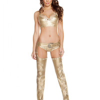 Gold Rhinestone Studded Chaps-Stoned Belt Buckle-Rave Wear