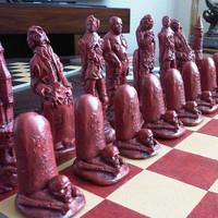 Superb Large Collectable Zombie / Undead Chess Set - Deeply Carved and Gruesome