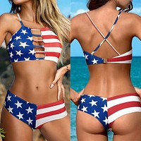 2020 new female star flag print sexy cross strap split bikini