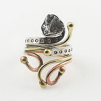 Campo De Cielo Meteorite Three Tone Sterling Silver Adjustable Ring