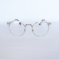 Flat Rate Shipping- High Quality Womens Mens Ray Ban Clubmaster Clear Transparent Eye Glasses Half Frames Trendy Hipster Retro Vintage Style