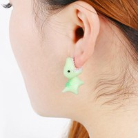 1Pair Handmade Polymer Clay Soft Cute Dinosaur Stud Earrings Animal