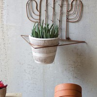 Copper Finish Cactus Sconce With White Wash Flower Pot