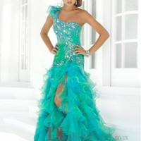 2014 New Styles Style A-Line One Shoulder Organza Green Long Prom Dress/Evening Gowns With Beading VTC457