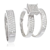 925 Sterling Silver Womens and Mens Trio Engagement Rings Two Row with Cz Stones (Womens Size 8 with Mens Size 11)