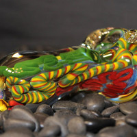 Extra Thick Handmade Rasta Heady Glass Pipe