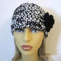 Black and White Crochet Beanie Hat - Womens Flower Hat