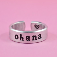 [♡002] ohana - Hand Stamped Ring, Family Ring