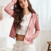 Aerie Beach Zip-Up Hoodie, Let's Mauve