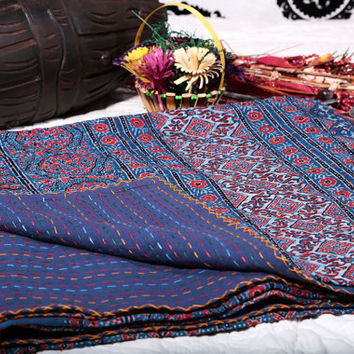 Blue Handmade Kantha Quilt , Kantha Throw ,Organic Vegetable Ajrakh Earthy Prints Bedspreads Bed Cover Blanket In Queen size