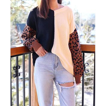 Melissa Multi Striped Color Block Animal Print Sweater