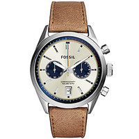 Fossil Mens Delrey Silver Leather Strap Watch