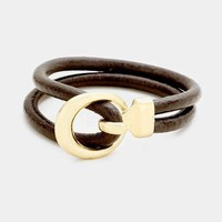 Faux Leather Cut Out Metal Hook Bracelet