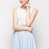 Light Blue Elegant Panel Lace Sleeveless Dress