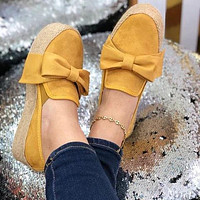 Bowtie Thick Bottom Women Platform Wedges Shoes