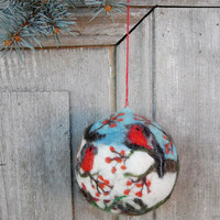 Christmas tree ornament, large felted Christmas ball with winter birds, OOAK