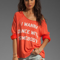 Wildfox Couture Dance with Somebody Off the Shoulder Sweatshirt in Valley Heat from REVOLVEclothing.com