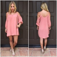 Salmon Summer Breeze Off Shoulder Dress