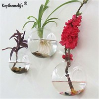 Keythemelife Semicircular Glass Vase Wall Hanging Hydroponic Terrarium Fish Tanks Potted Plant Flower pot Wedding Home Decor CA