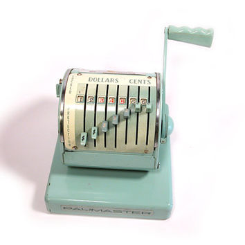 Vintage Turquoise Paymaster Check Writer, Mad Men Office
