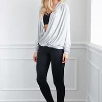 Twist-Front Heathered Pullover