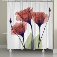 Red Gentian X-Ray Flowers Shower Curtain