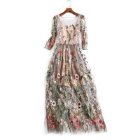 Women Party Dresses Vestidos Floral Bohemian Flower Embroidered Vintage Boho Mesh Embroidery Dresses