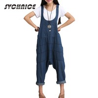 Spring Autumn Denim Jumpsuits Women Harem Jumpsuit Pants Ladies Loose Jeans Rompers Female Gallus Suspenders Big Size
