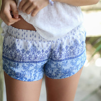 Virgin Island Breezy Blue Printed shorts