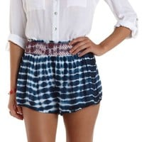 Blue Combo Smocked Tie-Dye High-Waisted Shorts by Charlotte Russe