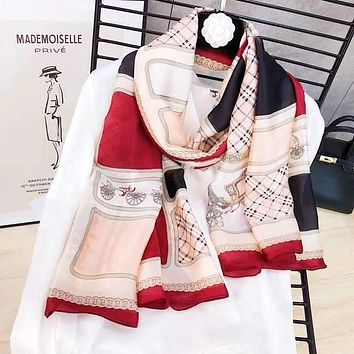 Spring Summer Women Temperament Fashion Double-Sided Personality Print Spell Color Stripe Silk Scarf Shawl