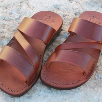 Brown handmade leather sandal for men & women summer outfit Jesus sandals camel