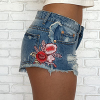 Favorite Flower Patch Denim Shorts