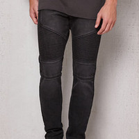 PacSun Stacked Skinny Moto Black Stretch Jeans at PacSun.com