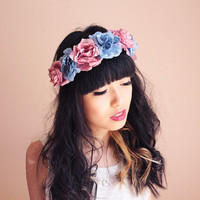 pastel blue and pink Floral rose crown - santa monica, festival crown, woodland, nature, oversize, statement, headband, headpiece.
