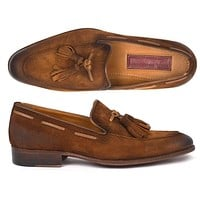 Paul Parkman (FREE Shipping) Men's Tassel Loafers Brown Antique Suede Shoes (ID#TAB32FG)