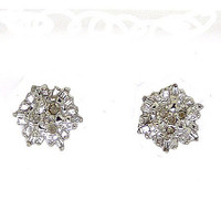 Round Bagguette Diamond Ladies Fashion Cluster Earrings in 14k White Gold 0.11 ctw