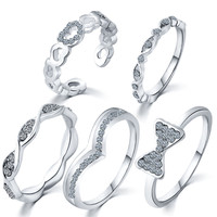 Five-piece 2016 Women Fashion Luxury Jewelry Ring Set Zircon Heart Bow Rings Adjustable Gold and Silve Rings Personality  4A02
