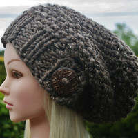 Hand Knit hat- Women's hat- light brown tweed- slouchy- beanie- hat with big coconut button- winter hat- Rustic Mega Chunky with wool