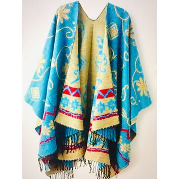 Knitted Cashmere Poncho Shawl Wear