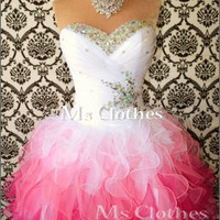 Custom Made Ball Gown White/Pink Short Prom Dresses, Bridesmaid Dresses, Strapless Prom Dresses 2014, Dress For Prom