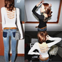 Casual Criss Cross Strappy Back Long Sleeve Sweat Shirt