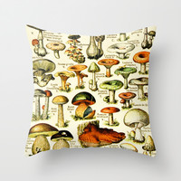 Vintage French Mushrooms Throw Pillow by Susan Najarian Design