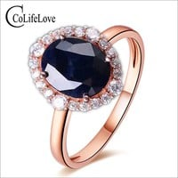 Elegant sapphire ring 10*12mm natural dark blue sapphire from Chinese sapphire mine solid 925 silvr sapphire woman wedding ring