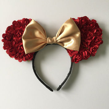 Belle floral inspired mouse ears