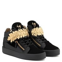 Giuseppe Zanotti Gz Leaf Black Calf Leather And Black Suede Mid-top With Gold Leaves