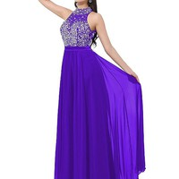 [126.99] In Stock Sparkling Chiffon High Collar Neckline A-line Prom Dresses With Beadings & Rhinestones - dressilyme.com